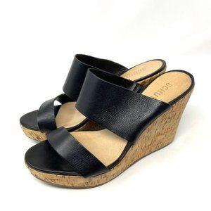 """SCHUTZ """"Kai"""" black leather cork wedge sandals 8.5"""
